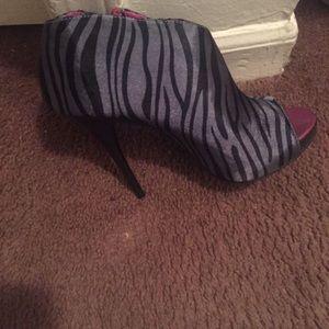 Purple black and grey heels
